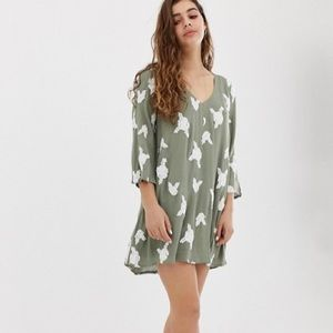 ASOS Honey Punch Swing Dress w All Over Embroidery